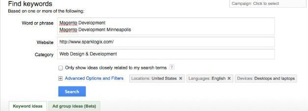 Example of using Google Adwords Keyword Tool