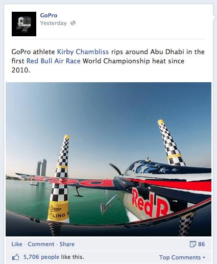 GoPro Branded Post on Facebook