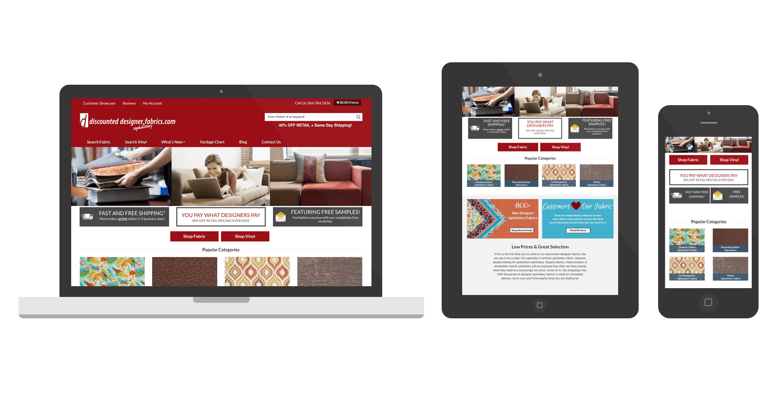 Discount Designer Fabrics WordPress eCommerce