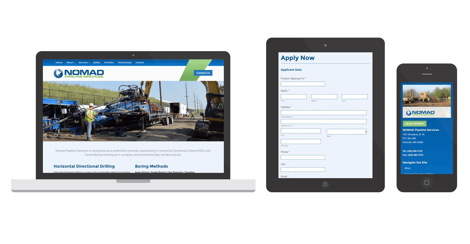 NOMAD Pipeline Services WordPress Website