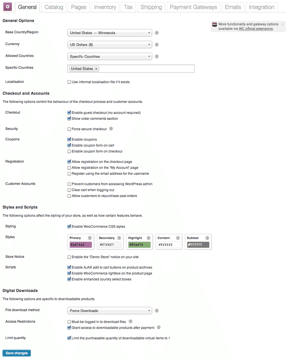 WooCommerce-Settings