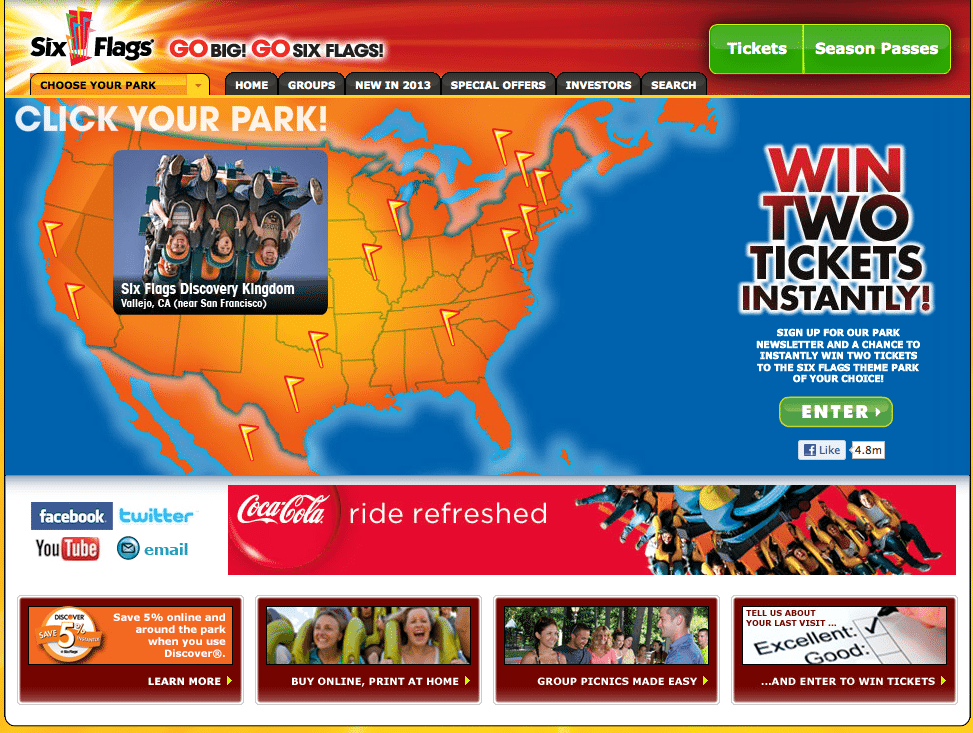 Six Flags Poor Homepage