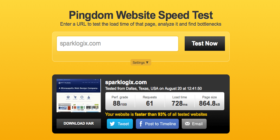 Spark Logix Speed Test at Pingdom