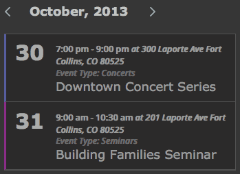 Events Used in Sidebar