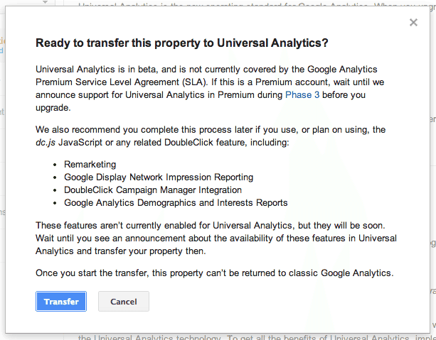 Google Analytics Transfer step 2