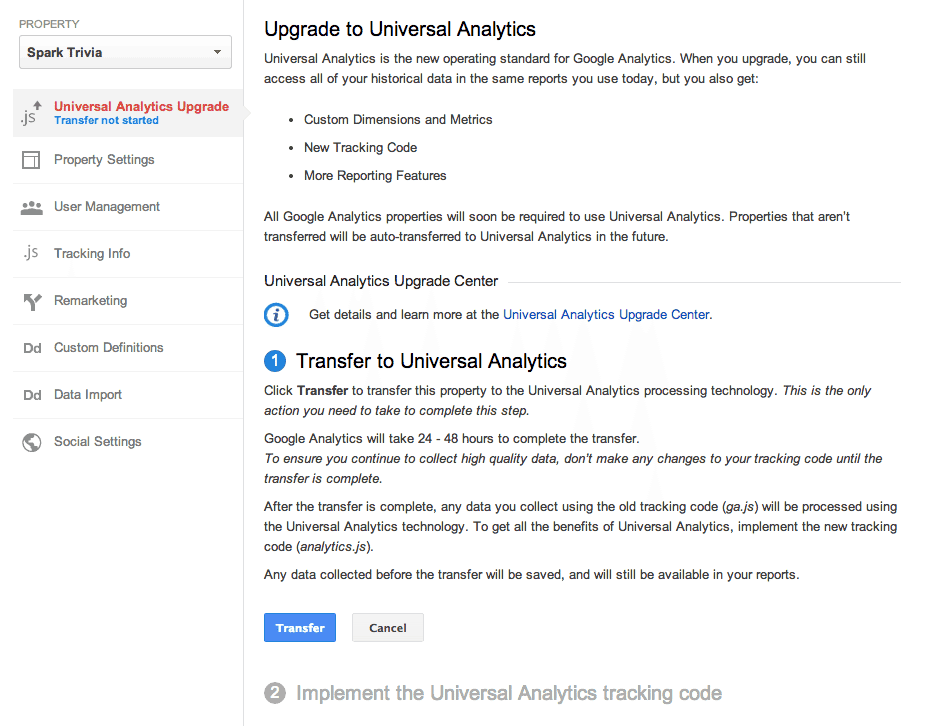 Universal Analytics Transfer step 1