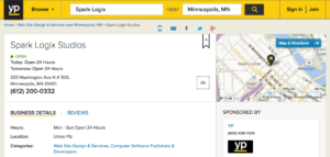 Example of Yellow Pages Listing