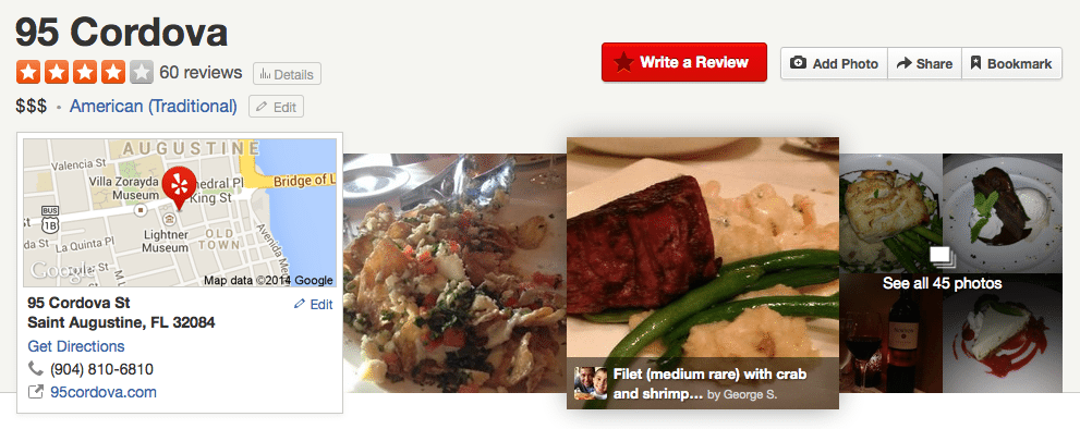 Example of a Listing on Yelp