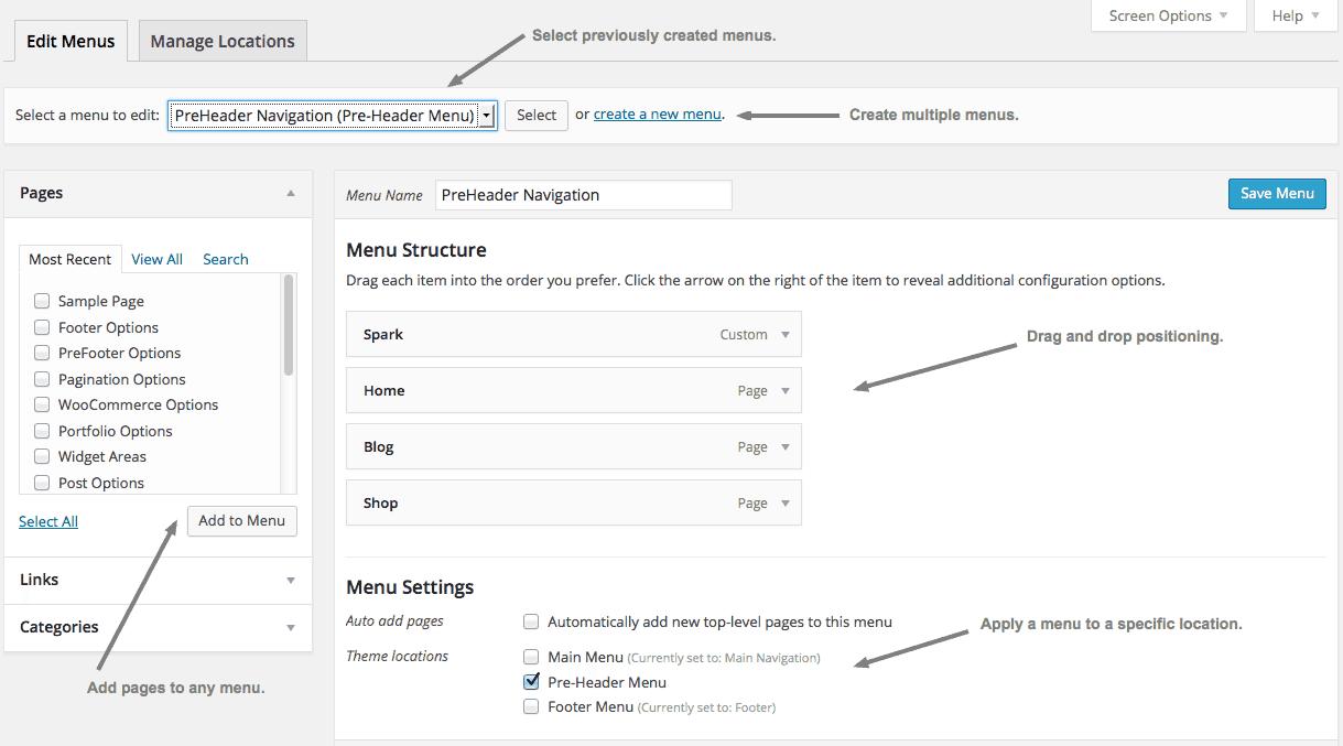 Managing Menus in WordPress