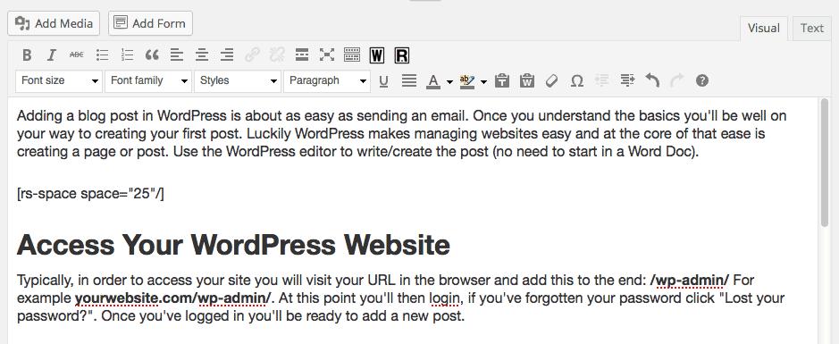 Adding Content to a WordPress Blog Post