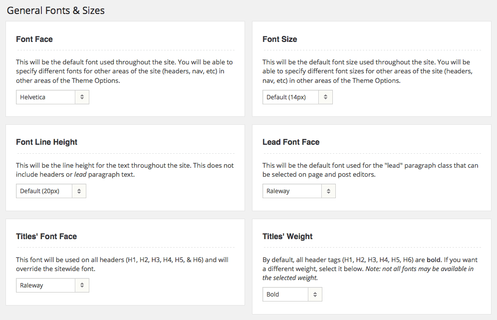 Adjustments in WordPress for Fonts and Sizes