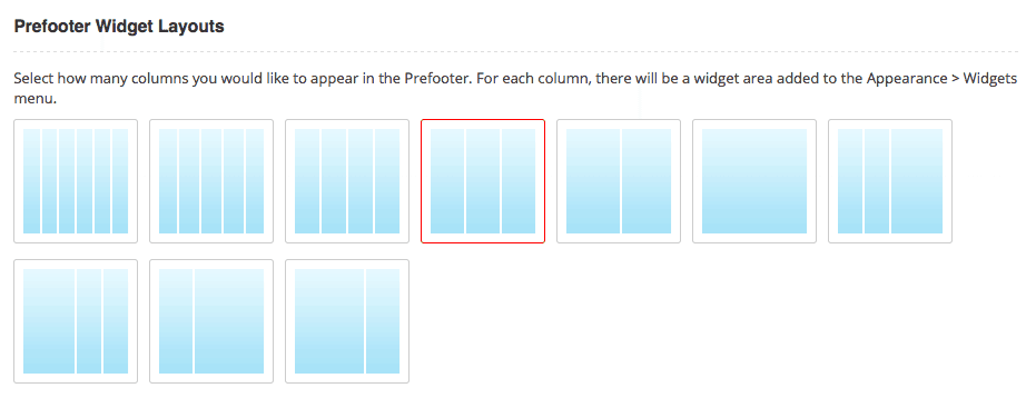PreFooter Column Options