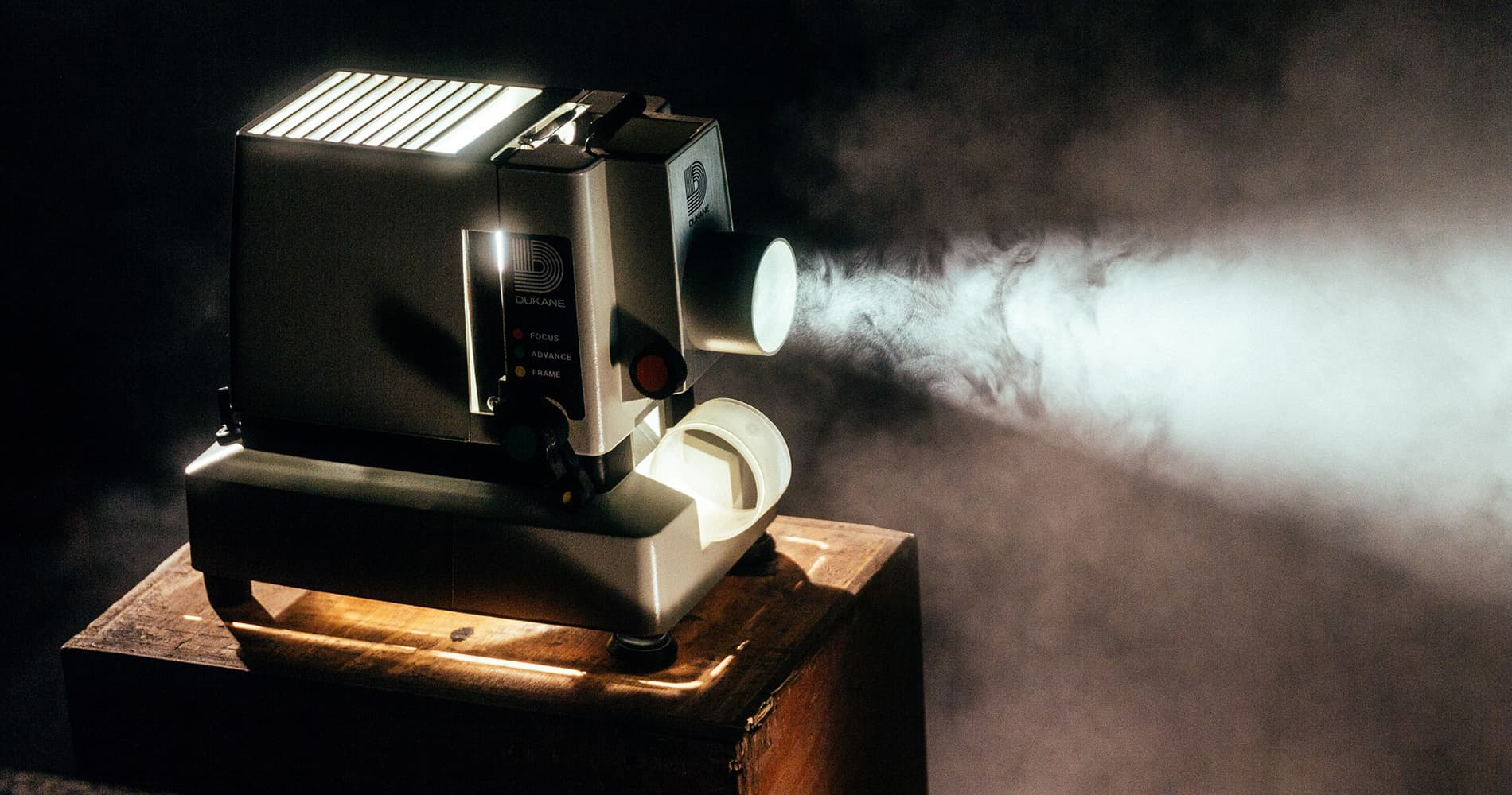 An old fashioned slide projector.