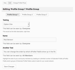 Profile Group Font End Edit