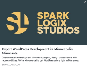 Sharing a webpage from WordPress on social media.