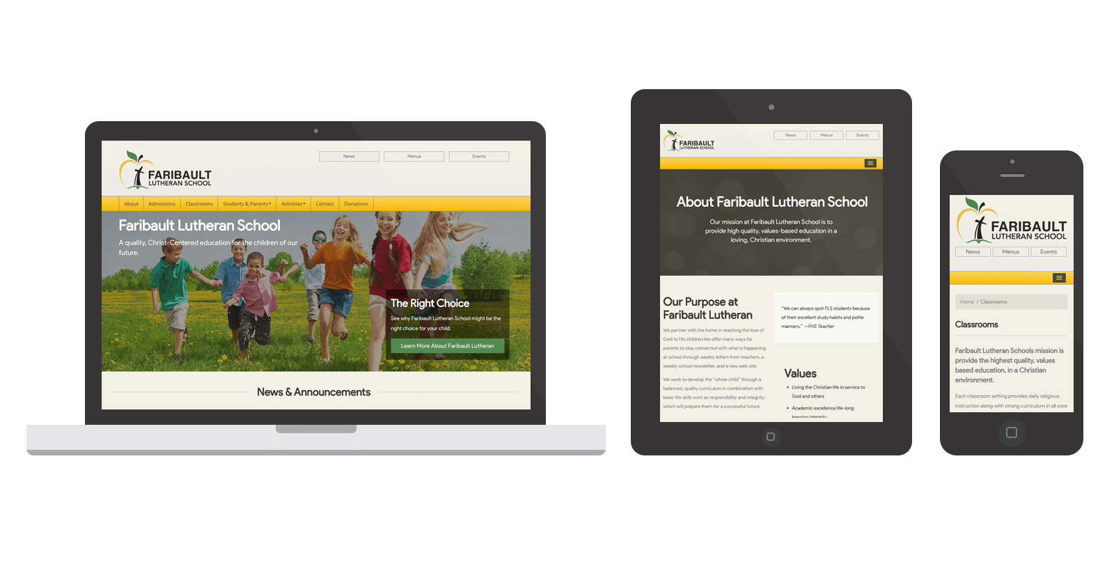 Faribault Lutheran School Web Design by Spark Logix Studios