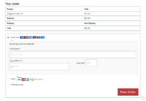Bottom Section of Checkout Frontend