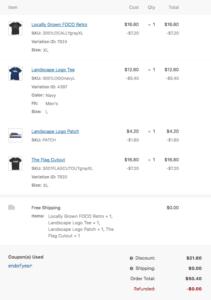 Item Details for Order Admin
