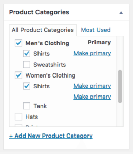 Product Categories Admin