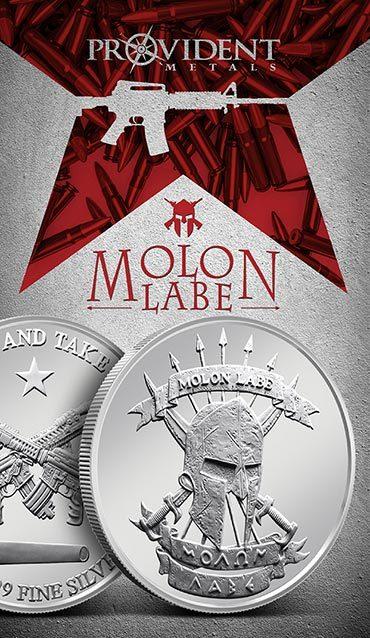 Provident Metals Molon Labe Silver Rounds - Print Card