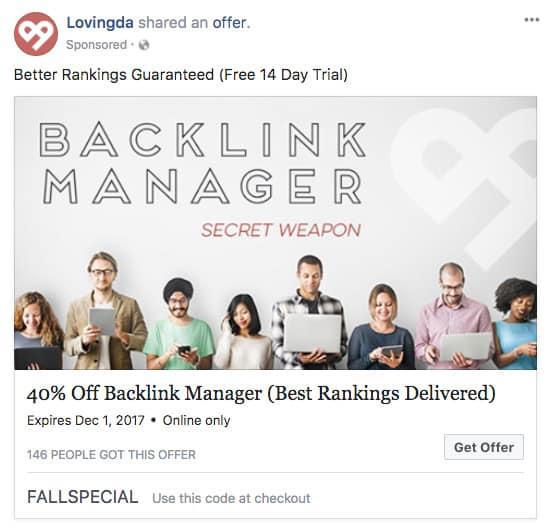 Facebook Offer Ad for Loving DA