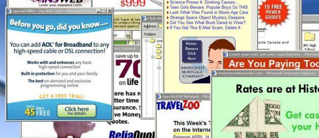 An example of crazy pop-up windows as Invasive Online Advertising