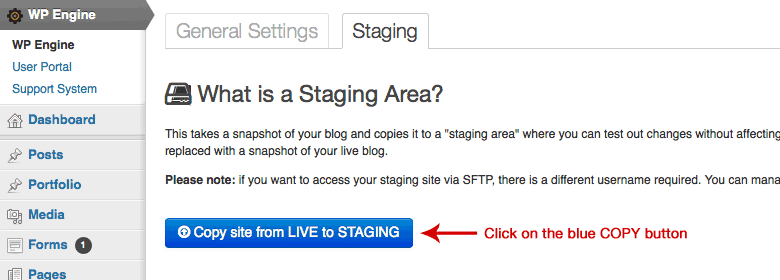 Using WPEngine's Staging Site