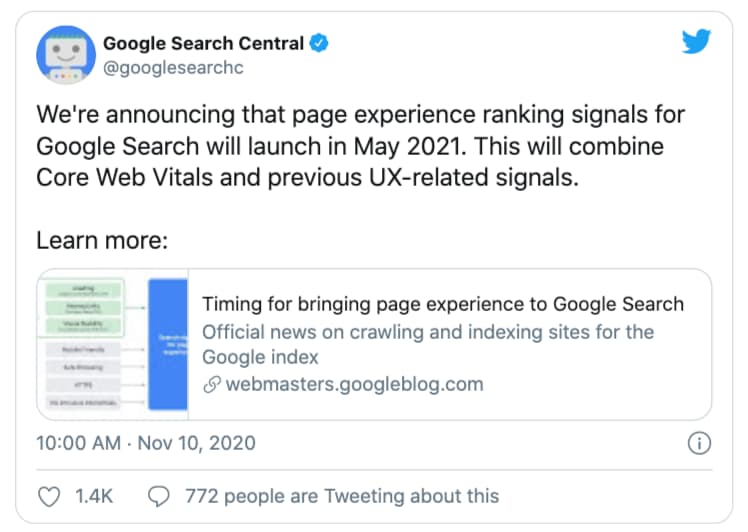 Google's Tweet Announcing the new Core Web Vitals upate